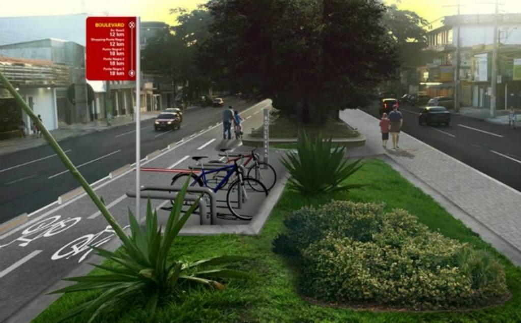 Ciclovia fará parte do trajeto para bicicletas que vai ligar bairros Ponta Negra e Boulevard. Foto: Reprodução do projeto/ PMM