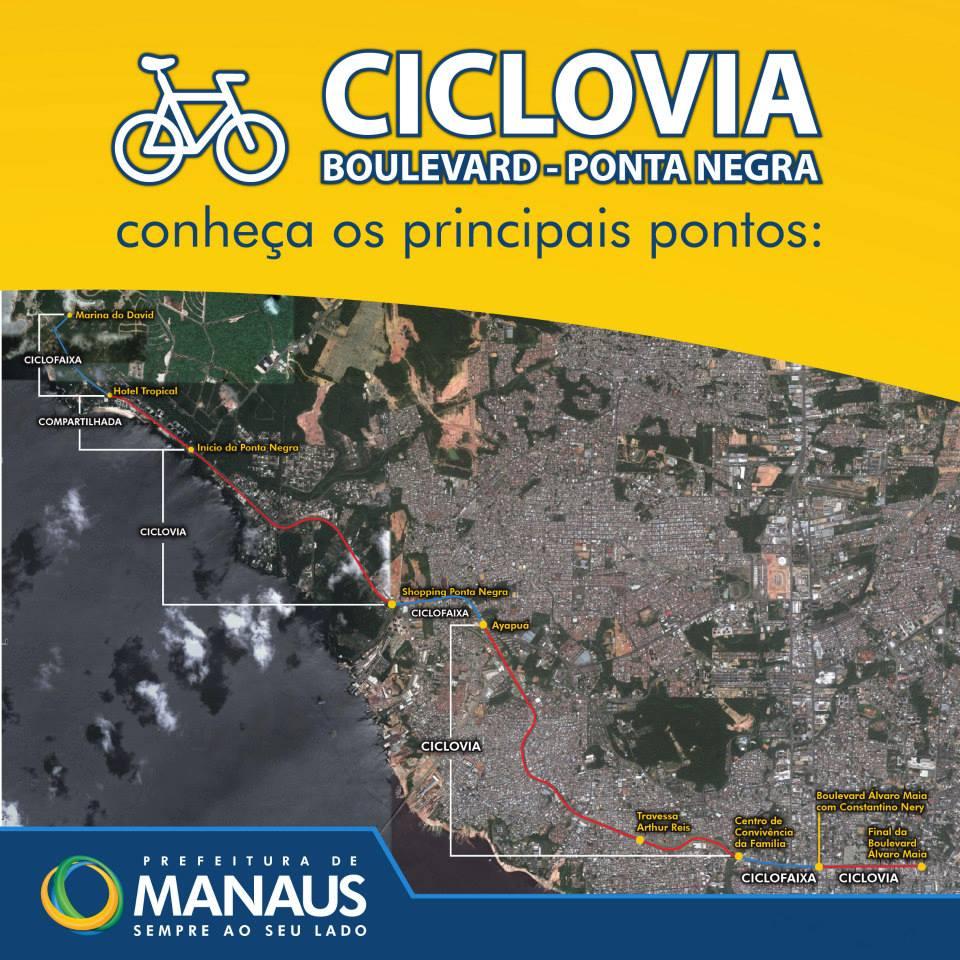 Percurso da Ciclovia/CicloFaixa Boulevard - Ponta Negra