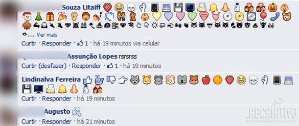 Os novos emoticons para os comentários do Facebook