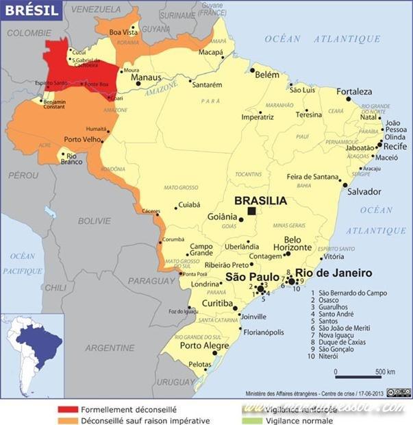 Mapa do Brasil mostra os locais que turistas devem evitar. Em vermelho - Oficialmente desaconselhado. Laranja - Aconselhado apenas em razões de necessidade. Amarelo - Vigilância reforçada. Verde - Vigilância normal