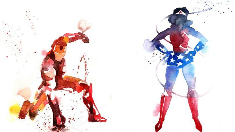 Super heróis em aquarela por Blule