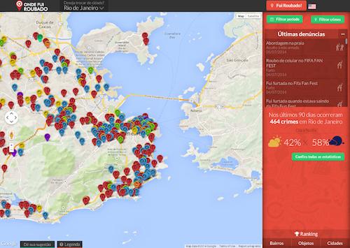 Mapa de ocorrências na cidade do Rio de Janeiro