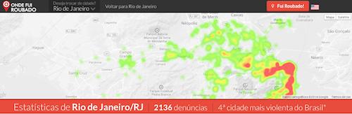 """Zonas """"quentes"""" na cidade do Rio de Janeiro"""