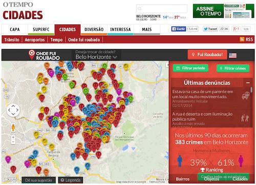 """Mapa de roubos do Onde Fui Roubado """"dentro"""" de um outro site"""