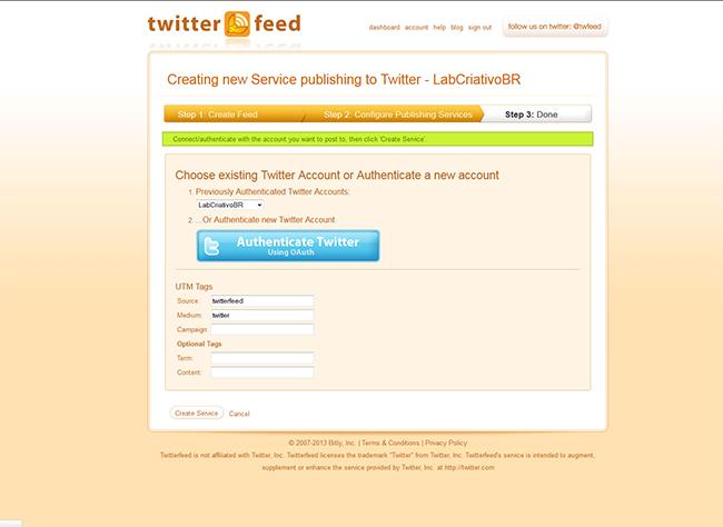 Configurar o Feed do site que você irá compartilhar as atualizações