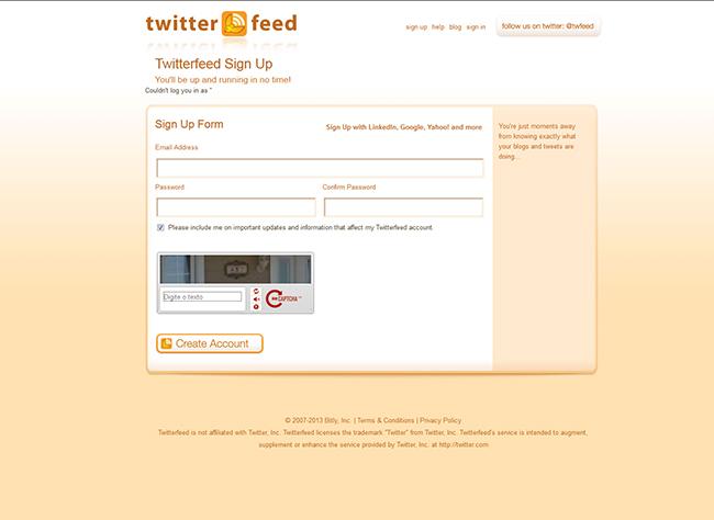Passo 1 - Criar a conta no Twitter Feed