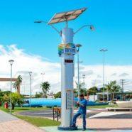 Totem de energia foto-voltaica na Praça das Águas. Foto: Divulgação/Prefeitura Boa Vista