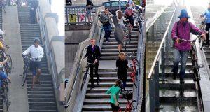 Rampa para deslizamento de bicicletas em escadarias