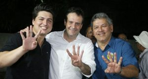Marcus Pessoa (PSB), Marcelo Serafim (PSB) e Sirlam Cohen (PMN)