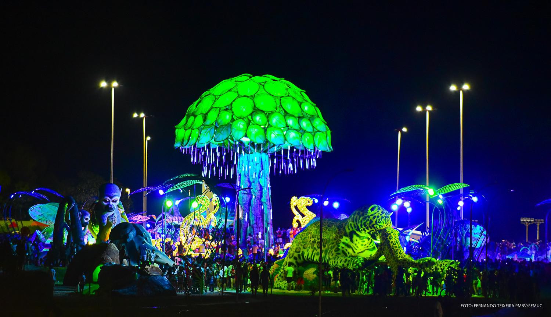 Selvinha de noite do novo cartão postal de Boa Vista. Foto: Secom/Prefeitura