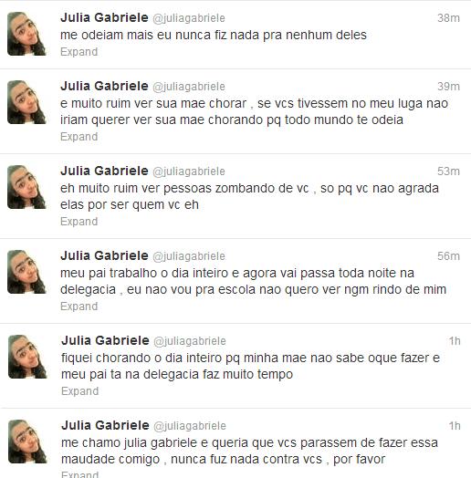 Twitter da Júlia Gabriele / Reprodução