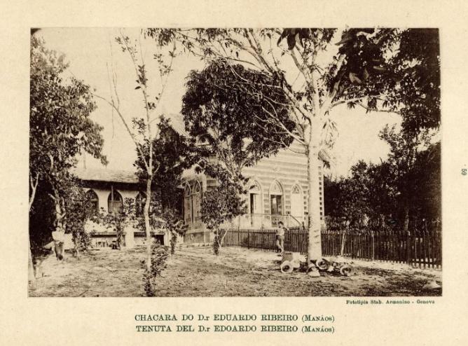 Foto da fachada da Chácara O Pensador quando era moradia de Eduardo Ribeiro
