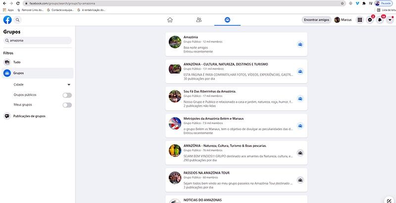 Lista de Grupos com o tema Amazônia / Reprodução Facebook